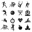 Sport fitness healthy lifestyle icons — Stock Vector #58429563