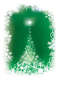 Magical christmas tree on green background — Stock Vector