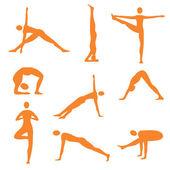 Yoga fitness orange icons — Stock Vector