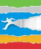 Paper running man ripping paper — Stock Vector