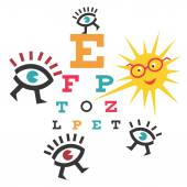 Funny testing eyesight — Stock Vector