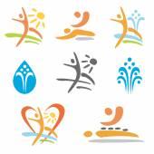 Spa massage nudism icons — Wektor stockowy