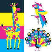 Exotic animals and print colors — Stock Vector
