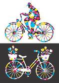 Cheerful city bikes — Stock Vector