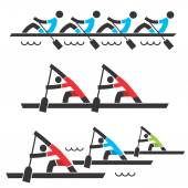 Rowing icons — Stock Vector