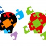Puzzle heads symbolizing Psychology — Stock Vector #76233309