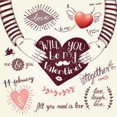 Valentine's day hipster illustration — Vector de stock