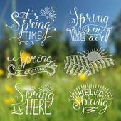 Spring blurred background with labels — Stock Vector