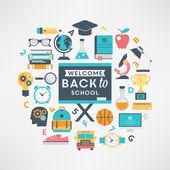 Flat design school and education illustration — Stock Vector