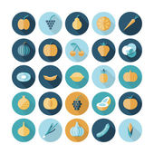 Flat design icons for fruits and vegetables. — Stock Vector