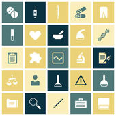 Flat design icons for medical science — Vector de stock