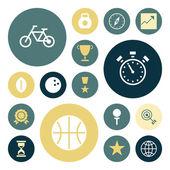 Plochý design ikony pro sport a fitness — Stock vektor