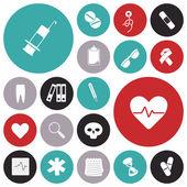 Flat design icons for medical — Vector de stock