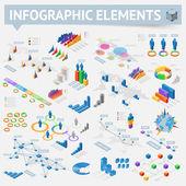 Set of isometric infographics design elements — Stock Vector