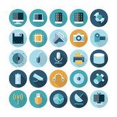 Plochý design ikony pro technologie a zařízení — Stock vektor