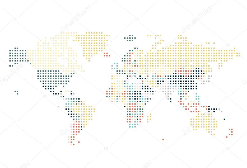 虚线的网点在白色背景上的世界地图.矢量图– 图库插图