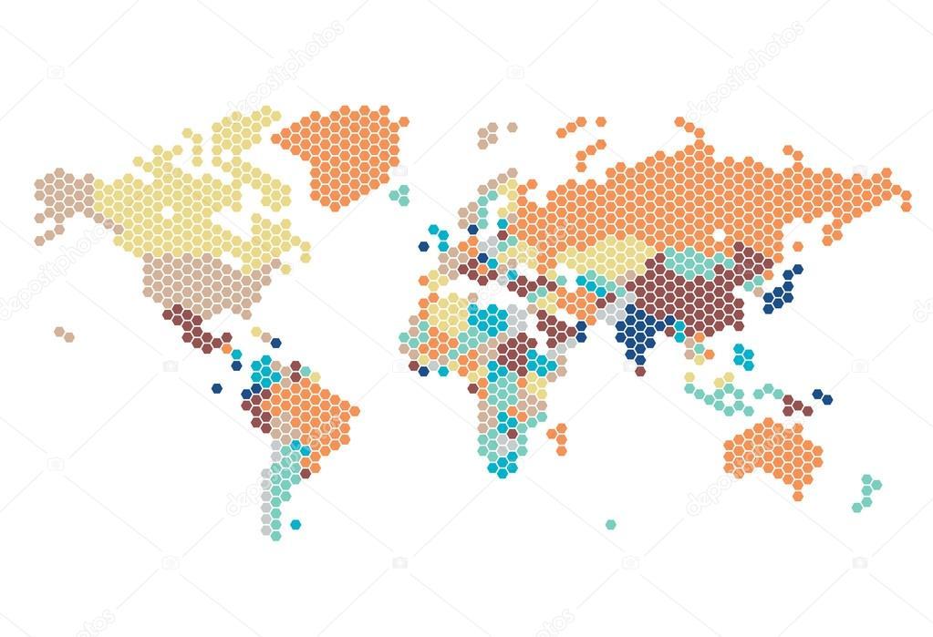 虚线的六角形点的世界地图 — 图库矢量图像08 ilto