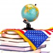 Globe, books and American flag — Stock Photo #65313357