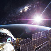 Space Station Orbiting Earth — Stock Photo