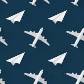 Sömlös bakgrund med flygplan modern platt stil — Stockvektor