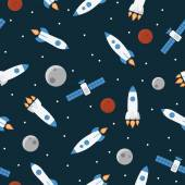 Seamless space pattern with rockets and stars — Stock Vector