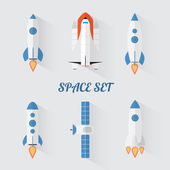 Modern flat style set of space rockets — Stock Vector
