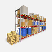 Storage racks and pallets with various products. — 图库照片