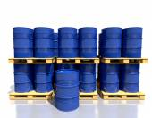 Stack barrels of fuel on a pallet are in the industrial warehous — Stock Photo