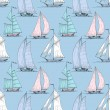 Cute boats sailing on sea seamless pattern — Vector de stock  #53993881