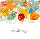 Autumn falling leaves colorful background over white  — Stock Vector