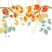 Fall background, tree branches and leaves in bright colors over  — Vecteur
