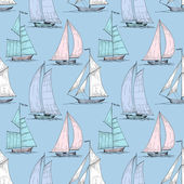 Cute boats sailing on sea seamless pattern  — Stock Vector