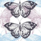 Hand drawn butterfly seamless pattern, texture pastels over whit — Stock Vector