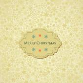Christmas background, snowflakes pattern and label with text  — Stock vektor