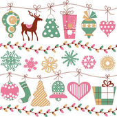 Christmas lights and icons horizontal seamless pattern  — ストックベクタ