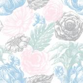 Floral texture in pastel colors seamless pattern — Stock Vector