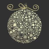 Christmas elegant golden globe made of snowflakes over dark back — Stock Vector