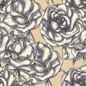 Vintage roses in bloom seamless pattern  — Stock Vector