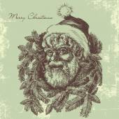 Vintage Santa Claus sketch portrait, Christmas card in old fashi — Stock Vector