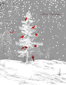 Birds Christmas tree, winter scene — Stock Vector