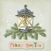 Vintage Christmas card, Christmas lamp and frame for text  — Cтоковый вектор