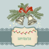 Happy new year card, jingle bells and frame for text  — Cтоковый вектор
