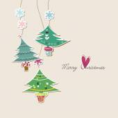 Cute Christmas trees background  — 图库矢量图片