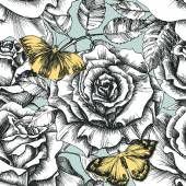 Retro flowers and butterfly seamless pattern, hand drawn roses b — 图库矢量图片