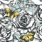 Retro flowers and butterfly seamless pattern, hand drawn roses b — Vecteur