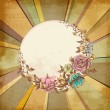 Retro floral round frame over old paper background  — Vector de stock  #65808797