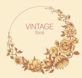 Round floral frame, vintage style vector — Stock vektor