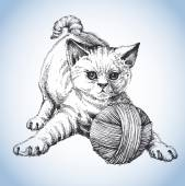 A cute cat playing with a ball of wool  — Stock vektor