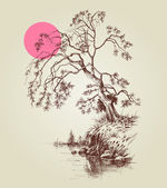 A tree by the lake or river and a pink full moon sketch  — Stock Vector