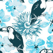 Birds and blue watercolor flowers seamless pattern — Stock Vector